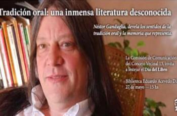 Néstor Ganduglia en la Biblioteca Eduardo Acevedo Díaz